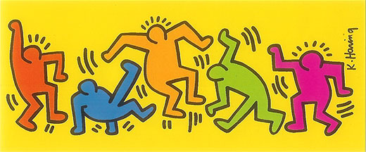 Keith Haring Print - Poster for Sale - Untitled Dancing Yellow