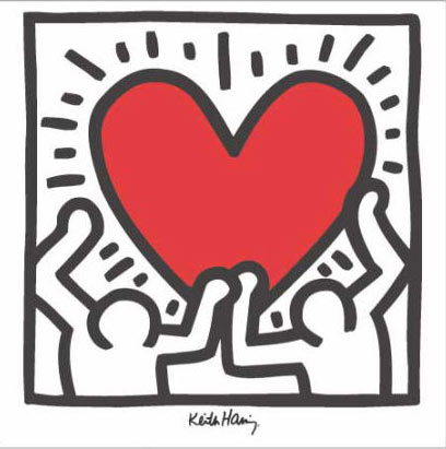Keith Haring print for sale - urban art poster - Untitled Hearts