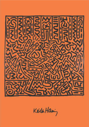 Keith Haring Print Poster for Sale - Untitled Orange Hidden People