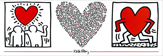 Keith Haring print poster for sale - UntitledHeart 1984