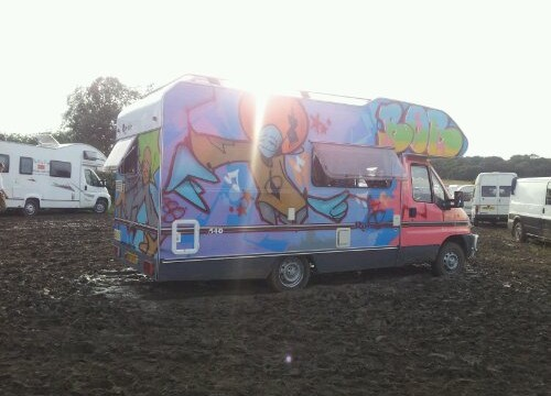 Graffiti Camper Van – secret garden party 2012 uk